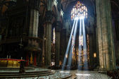 The Bright Beam of Light Inside Milan Cathedral, Italy — Stock Photo