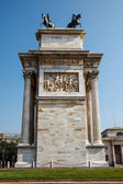 Arch of Peace in Sempione Park, Milan, Lombardy, Italy — Stock Photo