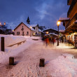 Megeve Ski Resort at French Alps in the Night — Stock Photo