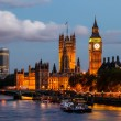Big ben och westminster bridge på kvällen, london, united ki — Stockfoto