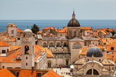 Aerial View on the Old City of Dubrovnik from the City Walls, Cr — Stock Photo