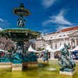 Baroque Fountain on Rossio Square the Liveliest Placa in Lisbon, — Stock Photo #23504807