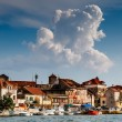 Medieval City of Omis on the River Cetina, Dalmatia, Croatia - Stock Photo