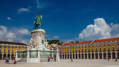 Panorama of Praca do Comercio and Statue of King Jose I in Lisbo — Stock Photo