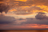 Dramatic Sunset with Red and Gold Clouds near Genoa, Italy — Stock Photo