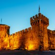 Medieval Castle of Kamerlengo in Trogir Illuminated in the Night - Stock Photo