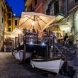 Illuminated Street of Riomaggiore in Cinque Terre at Night, Ital — Foto Stock