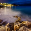 Romantic Cote d'Azure Beach at Night, Nice, French Riviera, Fran — Foto Stock