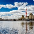 Cityscape of the Moscow River and Coal Power Plant, Moscow, Russ - Stock Photo