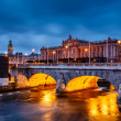 Riksdag Building and Norrbro Bridge in the Evening, Stockholm, S — Stock Photo