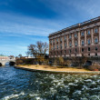 Norrbro Bridge and Riksdag Building at Helgeandsholmen Island, S — Stock Photo