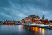 Illuminated Stockholm Royal Opera in the Evening, Sweden — Stock Photo