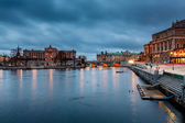 Illuminated Stockholm Royal Opera and Riksdag in the Evening, Sw — Stock Photo