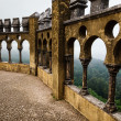 Open Arch Windows in Pena Palace with View on City of Sintra, Po — Stock Photo
