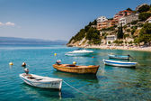 Motor Boats in a Quiet Bay near Split, Croatia — Stock Photo