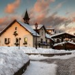 Village of Megeve in the Evening, French Alps, France — Stock Photo