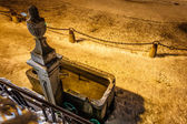 Drinking Fountain in Megeve At Night, French Alps — Stock Photo