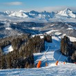 Skiing and Snowboarding in French Alps, Megeve — Foto Stock