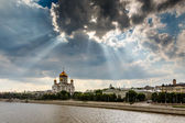 Sun Shining over Cathedral of Christ the Saviour in Moscow, Russ — Stock Photo
