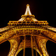 Wide View of Eiffel Tower Illuminated in Night, Paris, Franc — Stock Photo #28100579