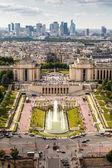 Luchtfoto op trocadero en la verdediging van de Eiffeltoren, p — Stockfoto
