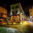 蒙马特高地,法国的一处典型的巴黎咖啡馆 le 文化教育观 — 图库照片