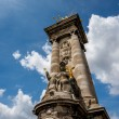 Alexandre III Bridge Pillar Close Up against Clouds, Paris, Fran — Stock Photo