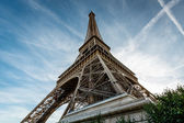 Wide View of Eiffel Tower from the Ground, Paris, France — Stock Photo