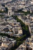 アーチ ・ デ ・ トライアンフ fra パリ、エッフェル塔からの空中写真 — ストック写真