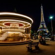 Moving Illuminated Vintage Carousel and Eiffel Tower, Paris, Fra — Stock Photo