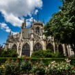 Notre Dame de Paris Cathedral with Red and White Roses in Foregr — Stock Photo