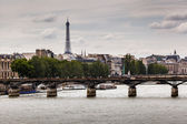 Eiffel Tower and Pont des Arts Bridge, Paris, France — Stock Photo