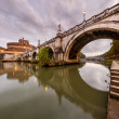 Panorama of Holy Angel Castle and Holy Angel Bridge in Rome at D — Foto Stock