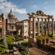 Stock Photo: RomForum (Foro Romano) and Ruins of Septimius Severus Arch an