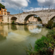 Stock Photo: Panoramof Tiber Island and Cestius Bridge over Tiber River, Ro