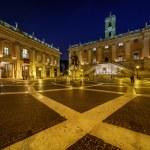Piazza del Campidoglio on Capitoline Hill with Palazzo Senatorio — Stock Photo #36564749