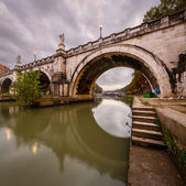 Under the Holy Angel Bridge in the Morning, Rome, Italy — Stock Photo