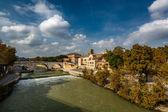 View on Tiber Island and Cestius Bridge, Rome, Italy — Stock Photo