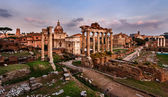 Panorama of Roman Forum (Foro Romano) at Sunset, Rome, Italy — Stock Photo