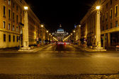 Saint Peter Basilica and Vatican City in the Night, Rome, Italy — Stock Photo