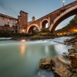 Fabricius Bridge and Tiber Island at Twilight, Rome, Italy — Stock Photo