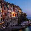 Stock Photo: Village of Riomaggiore in Cinque Terre Illuminated at Night, Ita