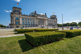 Frontal View of Reichstag Building in a Summer Day with Blue Sky — Stock Photo