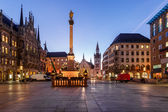 Old Town Hall and Marienplatz in the Morning, Munich, Bavaria, G — Stock Photo