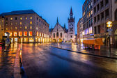 Old Town Hall and Marienplatz in the Morning, Munich, Bavaria, G — Stok fotoğraf