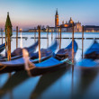 Gondolas, Grand Canal and San Giorgio Maggiore Church at Dawn, V — Stock Photo #44115993