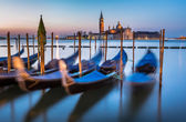 Gondolas, Grand Canal and San Giorgio Maggiore Church at Dawn, V — Stock Photo