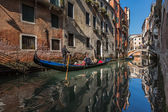 Traditional Venice Gandola Ride along Narrow Canal, Venice, Ital — Stock Photo