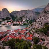 Aerial View on Omis Old Town and Cetina River Gorge, Dalmatia, C — Stock Photo