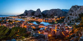 Aerial Panorama of Omis and Cetina River Gorge in the Evening, D — Stock Photo